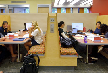 Group study booth in Weigle Information Commons