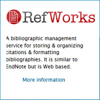 RefWorks, a bibliographic management service for storing & organizing citations & formatting bibliographies
