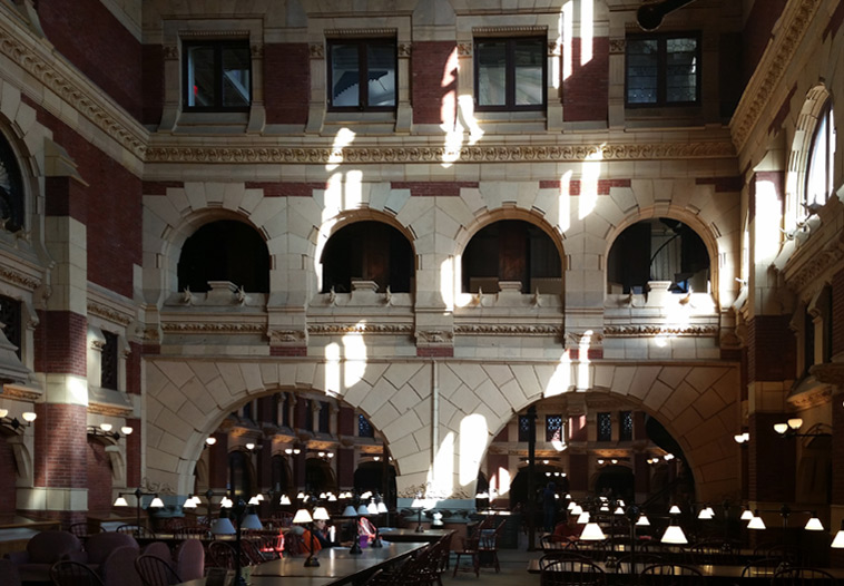 Fine Arts building, sun-dappled reading room looking south