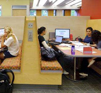 Study booths in the Weigle Information Commons
