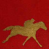 Gold-mbossed book cover with racing horse in silhouette