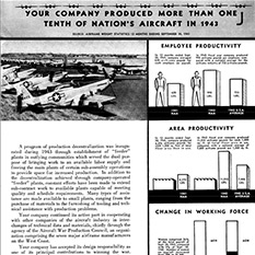 Photo and charts: Your company produced more than 1/10th of nation's aircraft in 1943.