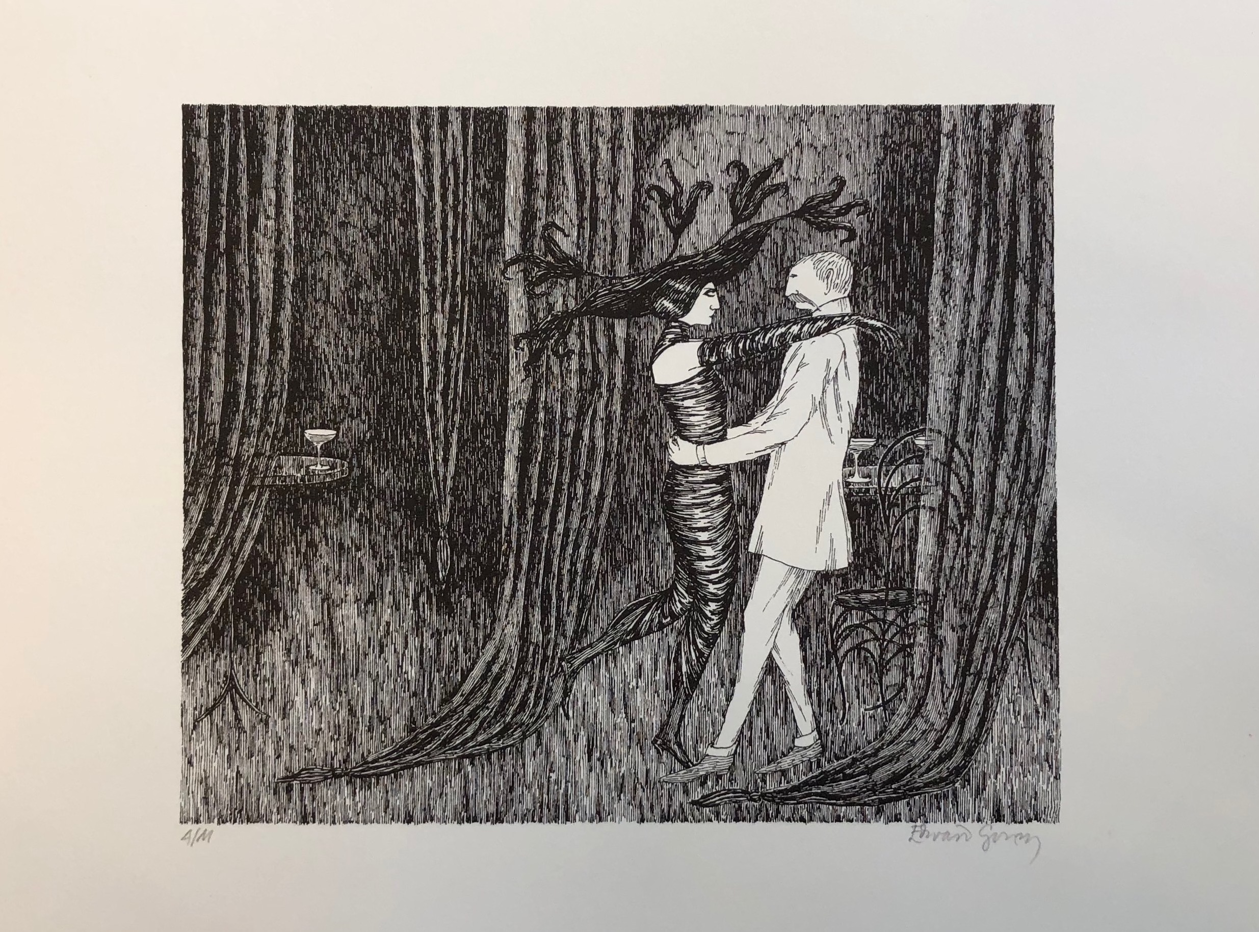 Edward Gorey sketch of a man and a woman dancing
