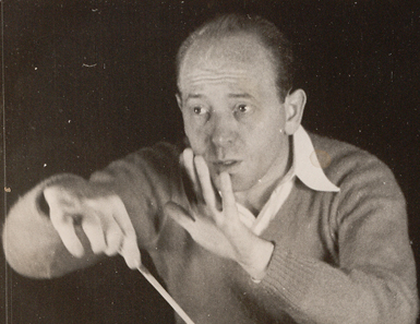 Ormandy in rehearsal with the Philadelphia Orchestra Academy of Music, Philadelphia, ca. 1936 (Eugene Ormandy Photographs, Ms. Coll. 330)