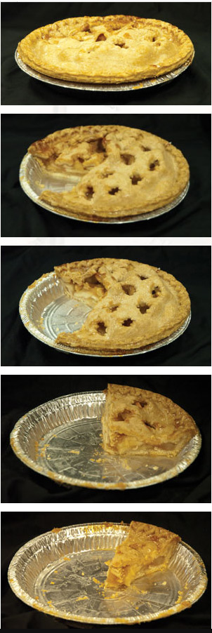 Apple pie, series of 5 pictures from whole pie to a single piece