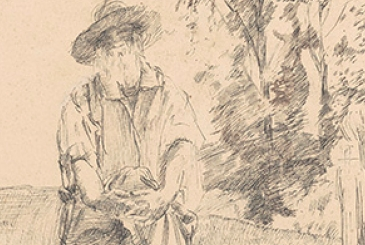 Sketch of Walt Whitman by William Wallace Gilchrist from the papers of E. Scully Bradley
