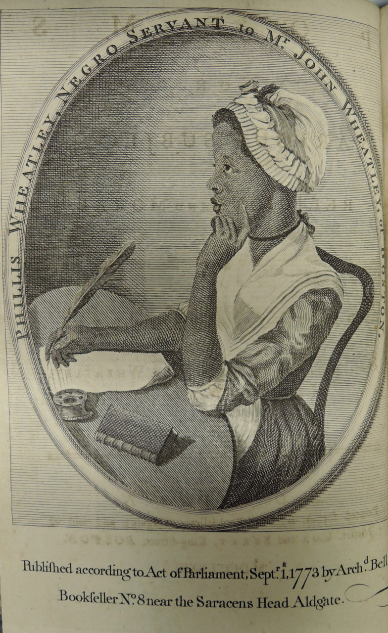 Phillis Wheatley, Poems (London 1773), frontispiece (RBC AC7 W5602 773p)