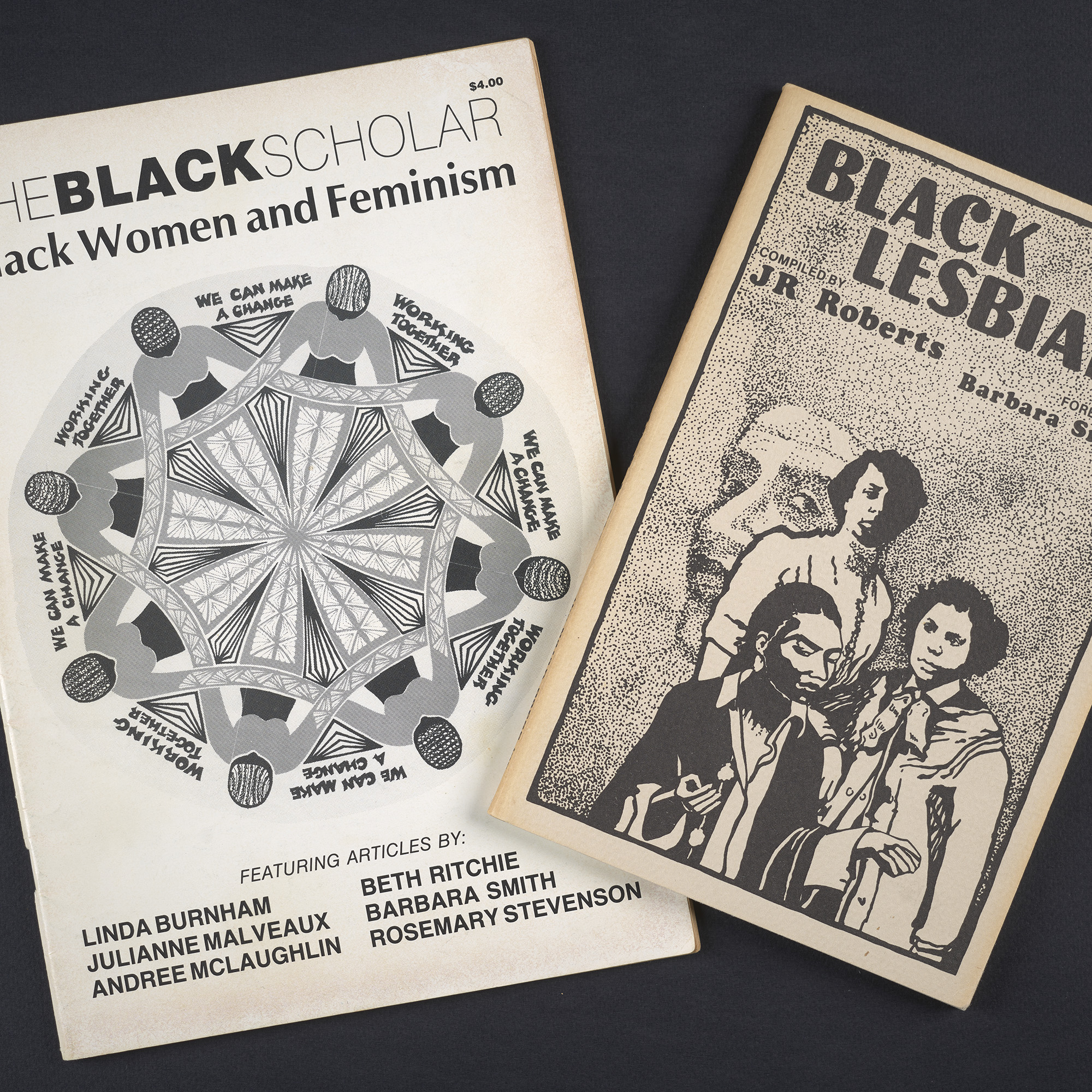 Covers of two journals, The Black Scholar and Black Lesbians, from the Johanna Banks Collection.