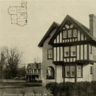 Philadelphia T Square Club, Photograph of half-timber house with plan in corner.
