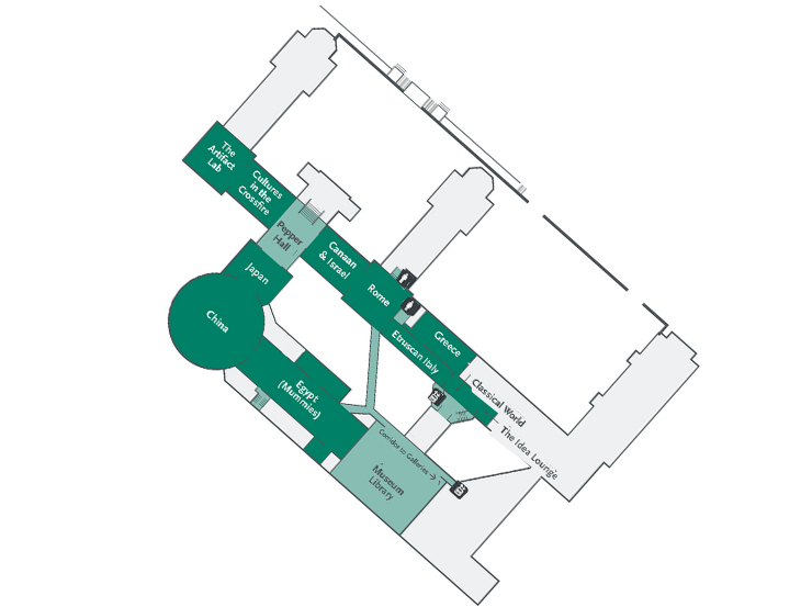 Museum third floor plan showing the Library