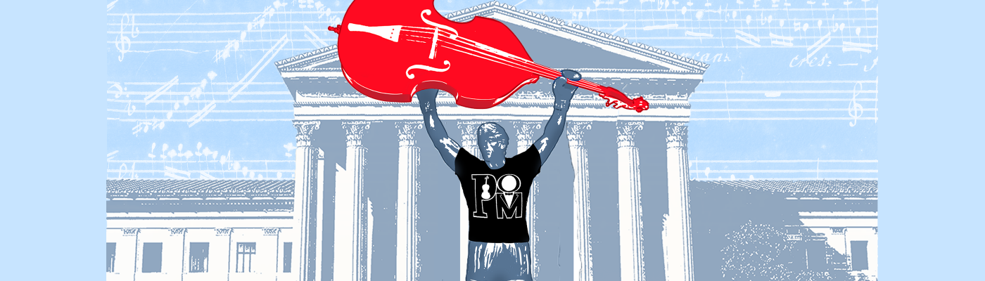 Rocky lifts a cello on the steps of the Philadelphia Museum