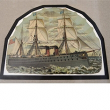 Trade card of a combination steam and sail boat, Kaplan Collection.