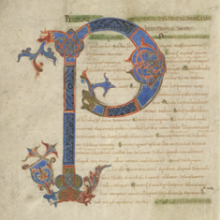 LJS 101 - Boethius - Periermenias Aristotelis..., decorated initial (P), f. 1v