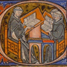 Teacher and students, illuminated initial D, LJS 184, f. 1r