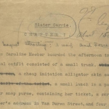 Theodore Dreiser, Sister Carrie, typescript, 1900, chapter 1, p.1 (detail) (Ms. Coll. 30, Box 126, folder 7075)