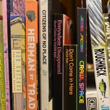 Shelf of comic books