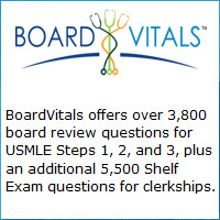 BoardVitals offers over 3,800 board review questions for USMLE Steps 1, 2, and 3, plus an additional 5,500 Shelf Exam questions for clerkships.