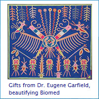 Gifts of Native American tapestries from Dr. Eugene Garfield beautifying the Library
