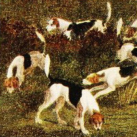 Detail showing fox hounds