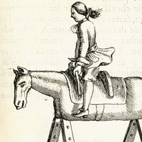 Equitation, showing a young rider practicing mounting and dismounting with a wooden horse