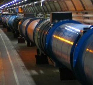 Large Hadron Collider employs superconducting dipole magnets like those shown to provide a magnetic field almost 100,000 times stronger than the earth's magnetic field.