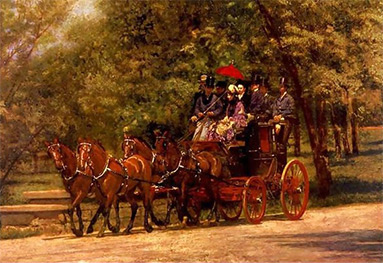 Painting showing a coach and four