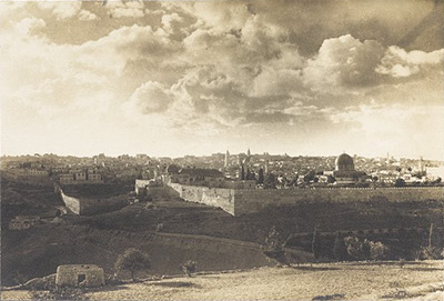 Dramatic view of Jerusalem looking toward teh Mosque of Omar / Temple Mount