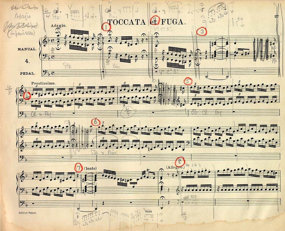 Bach, Toccata and fugue in D minor, orchestrated by Stokowski (Leopold Stokowski Collection of Orchestral Transcriptions, Ms. Coll. 351, Box 26)