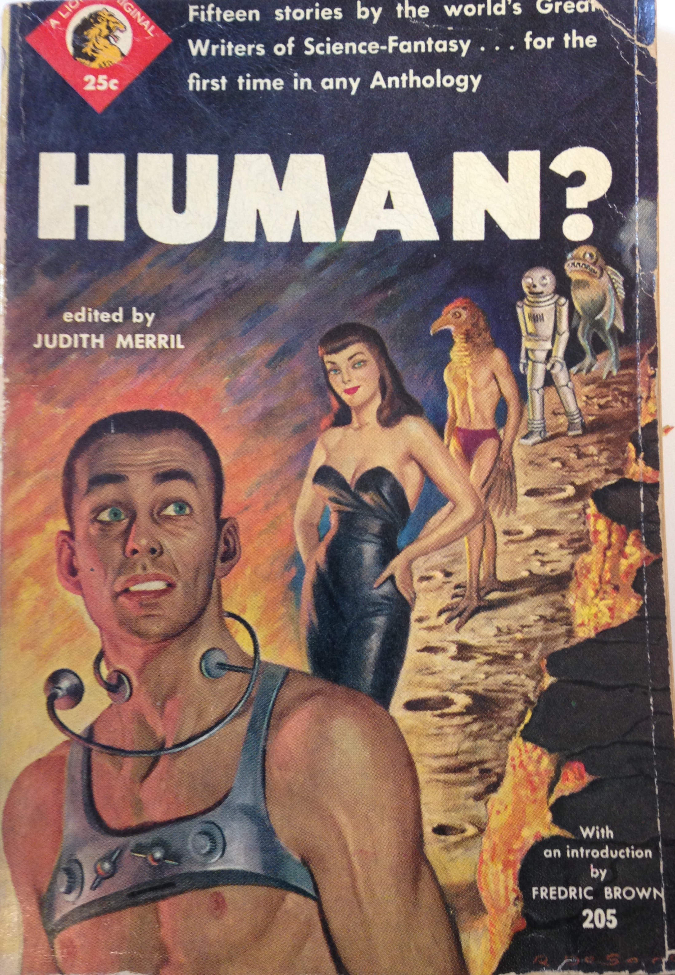 "Cover of the book ""Human?"", where man looks bewildered by a procession of human-like figures"