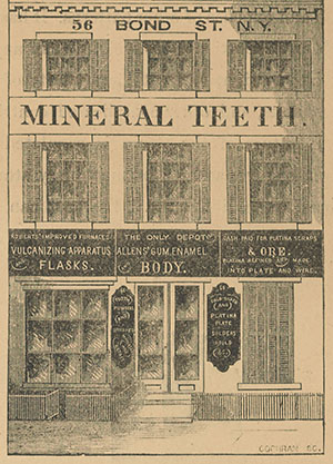 Advertisement for mineral teeth, 56 Bond St New York, from Brown's quarterly dental expositor (New York, July 1859). Thomas Evans Collection, Penn Libraries