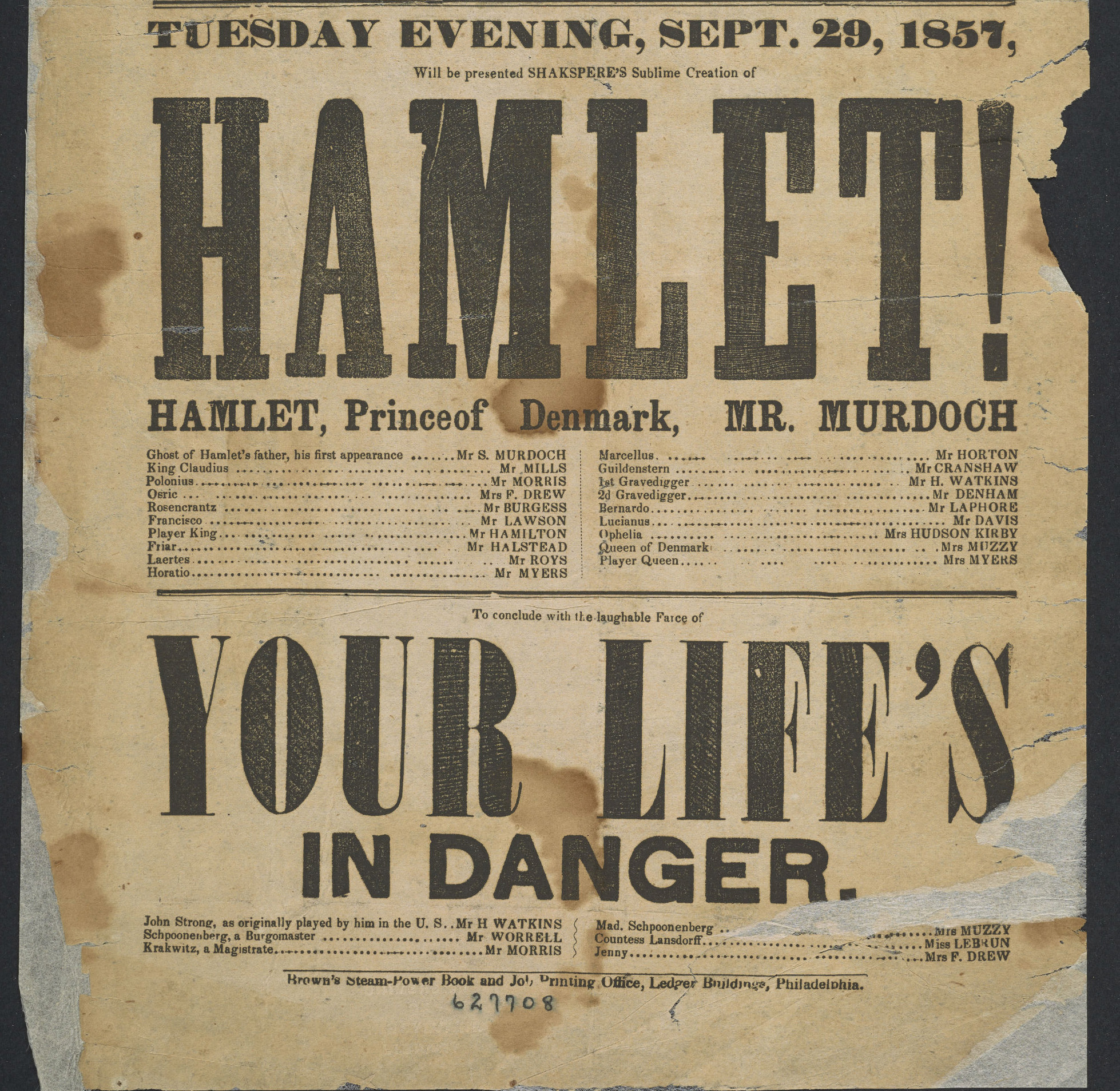 Detail of 1857 playbill from the National Theatre performance of Hamlet
