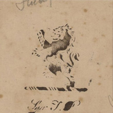 Book stamp of Sir Thomas Phillipps (1792-1872) of his library at Middle Hill, from the first flyleaf of an 18th-century Italian manuscript copy of De rerum natura. Penciled notes at edges by later owners (Lawrence J. Schoenberg Collection, LJS 179).