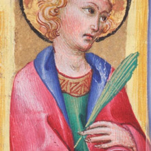 Initial I with a saint, possibly St. John the Evangelist. Attributed to Sano di Pietro, c. 1470. Free Library of Philadelphia, Lewis E M 25:1.