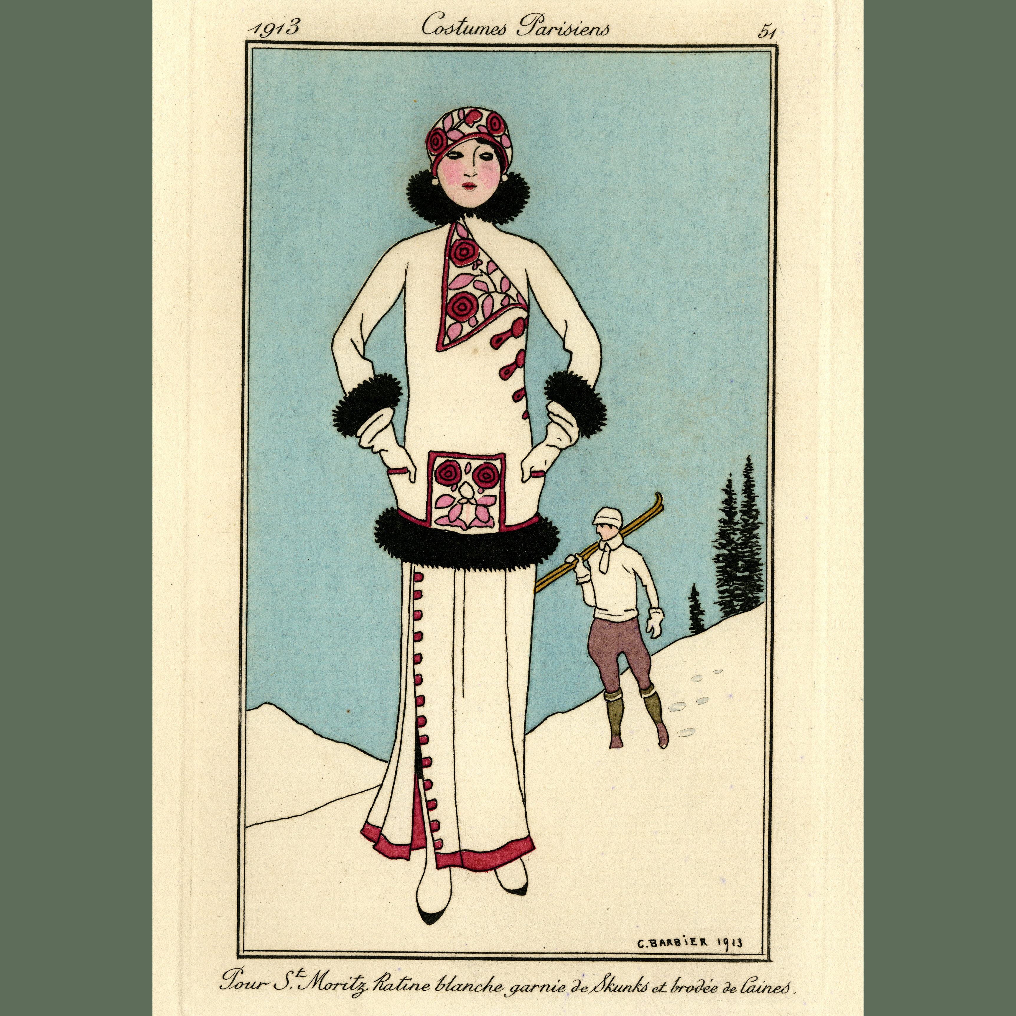 French fashion plate of a woman on a ski slope in a white dress with black fur trin and purple embroidery and buttons