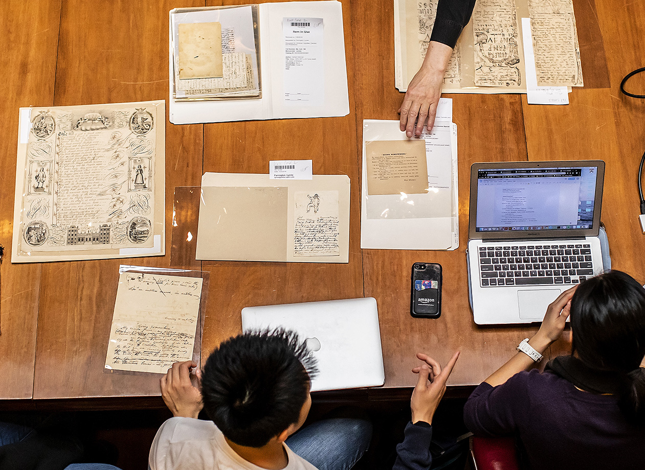Penn Libraries allows access to rare documents, unlike most institutions. During the Manuscript Collective sessions, the students work with original materials, including works by and about Whitman.