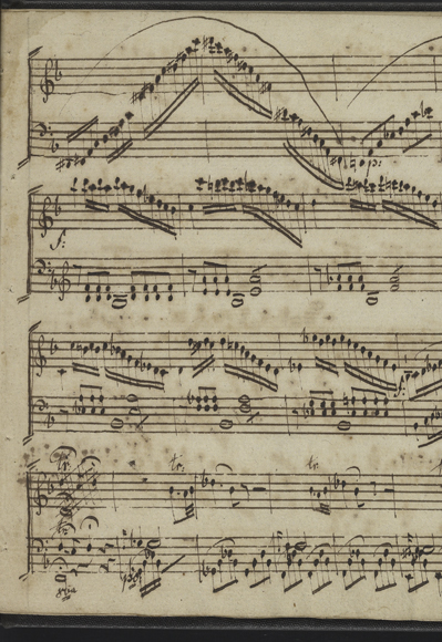 Detail from Detail from Ludwig Abielle, Ill sonates pour le clavicin ou pianoforte opera III (France, 17th century), UPenn Ms. Codex 13, Kislak Center., Ill sonates pour le clavicin ou pianoforte opera III (France, 17th century), UPenn Ms. Codex 13, Kislak Center.