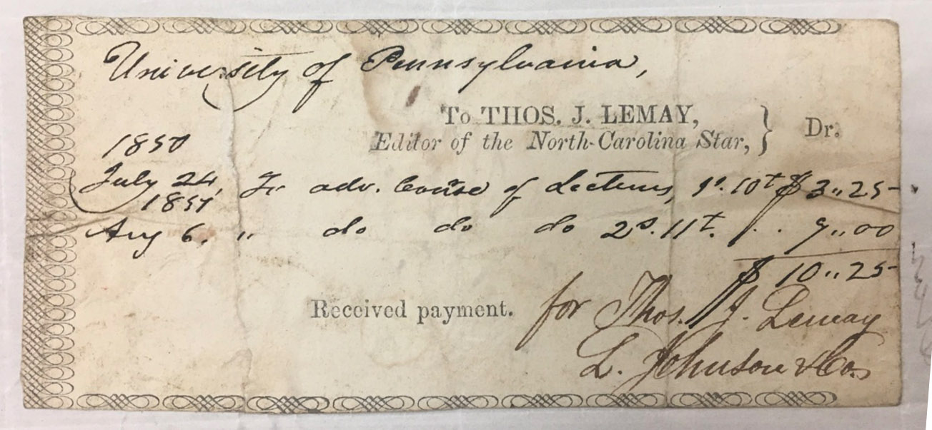 Receipt of payment for advertising two courses at the University of Pennsylvania in the North-Carolina Star newspaper, 1850