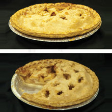 2 pies, one with a slice missing