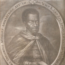 Detail of Christopher Elias Heiss, engraved portrait of Abba Gorgoryos in Hiob Ludolf's Historia Aethiopica (Frankfurt, 1681)>Kislak Center Collections.
