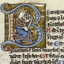 Initial B showing a harpist wearing a crown