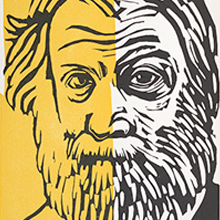 Barbara Henry woodcut of Walt Whitman