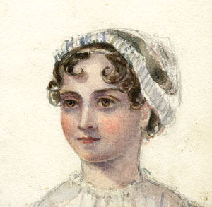 Unauthenticated contemporary watercolor of Jane Austen