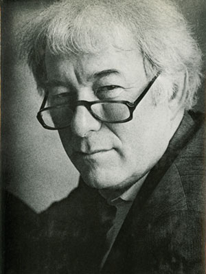 Detail of Seamus Heaney's book jacket photo by Virginia Schendler, from Selected Poems 1966-1987