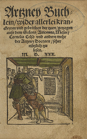 Title page with woodcut of tooth extraction from Artzney Buchlein (Leipzig,1530)