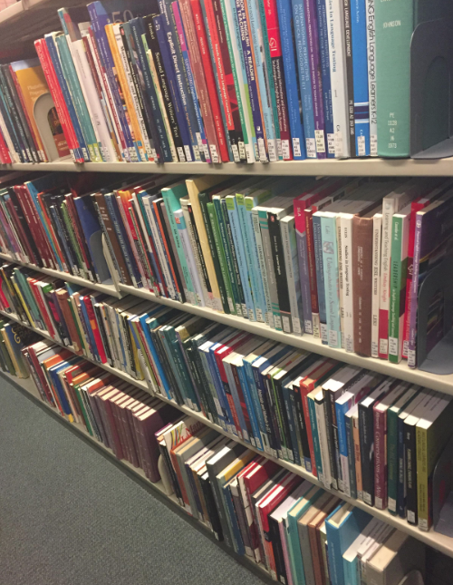 Picture of many of the ESL-related books in the Van Pelt Library stacks