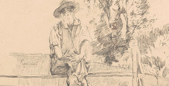 Sketch of Walt Whitman by William Wallace Gilchrist from the papers of E. Sculley Bradley