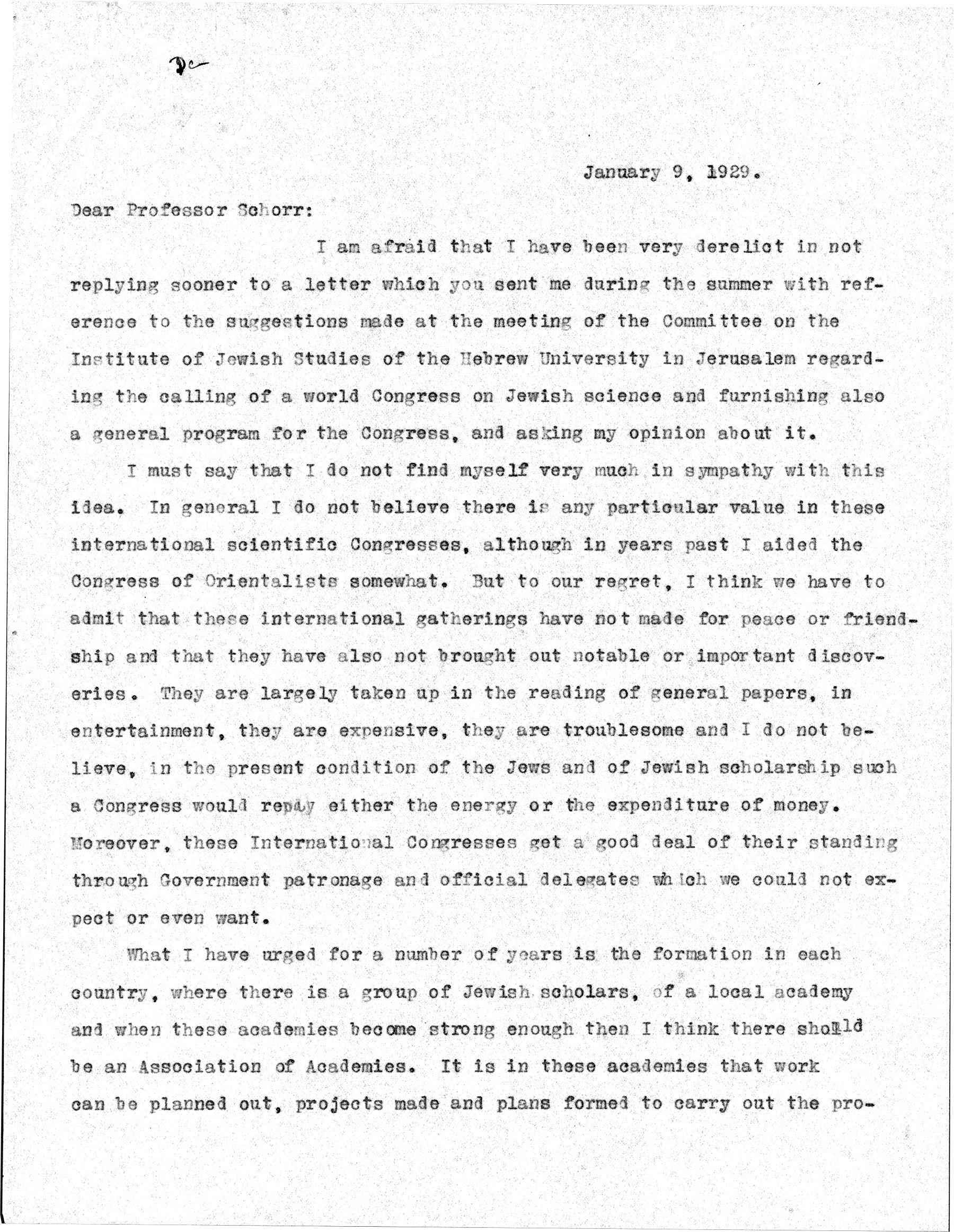 Cyrus Adler letter, page 1