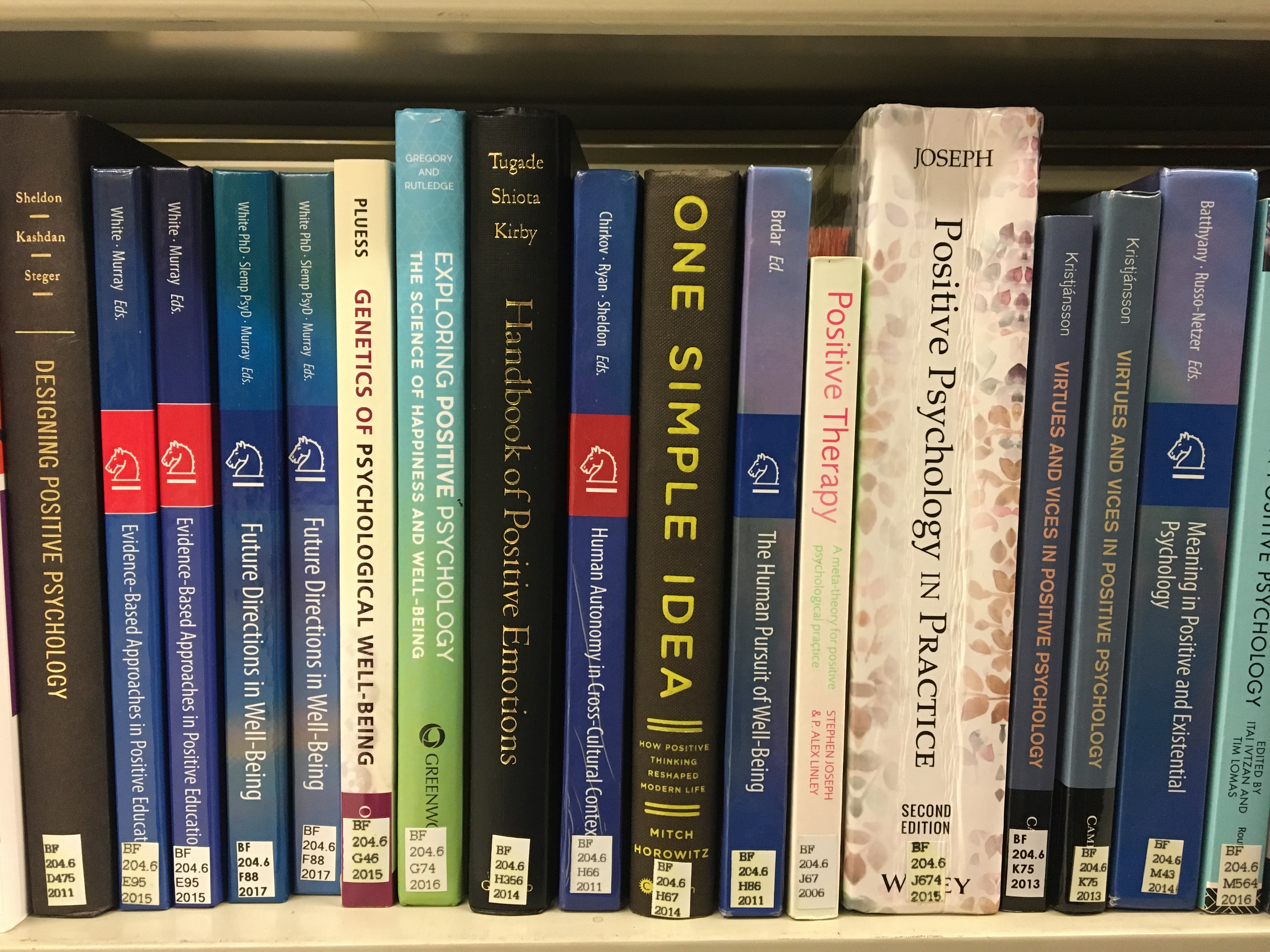 Positive Psychology Books on shelf