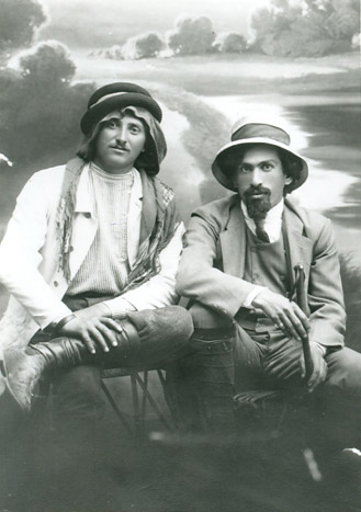 Black and white photograph of two men