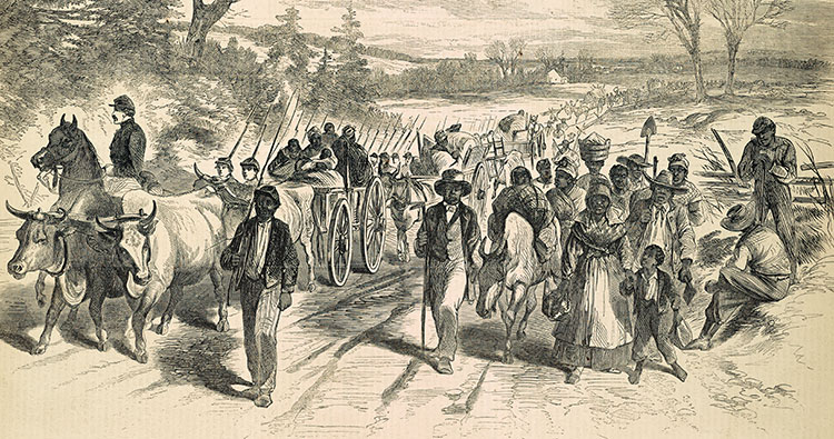 Detail of wood engraving The effects of the proclamation: Freed Negroes coming into our lines, Newbern, North Carolina, Harper's Weekly, February 21, 1863), Penn Libraries
